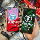 Fashion New Glass Aape Logo Hard Phone Case Cover For iP-hone 8 X 6 7 Plus