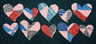 10 ANTIQUE CUTTER QUILT PRIMITIVE CURVY HEARTS! RED BLUE DBL PINK! MIXED