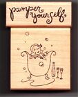 Set of 2 Paper Salon Wd Mtd Rubber Stamps BATHTIME BUBBLY  PAMPER YOURSELF NEW