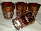 SET 4 MID CENTURY SIGNED CERA GOLD ENCRUSTED GRECIAN GRAPE BAR WARE GLASSES