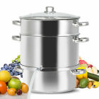 11 Quart Stainless Steel Fruit Juicer Steamer Stove Top w Tempered Glass Lid