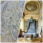 SWATCH Brocade Satin Fabric Pastel Blue Upholstery Damask