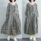 Women Long Sleeve Cotton Plaid Check Long Shirt Dress Oversize Full Length Dress