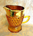 Indiana Glass Creamer Pedstal Footed Amber Brown Gold Diamond Point Vintage EXC