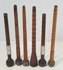 Antique Vintage Wood Sewing BOBBIN Spindle Spool Set of SIX Primative