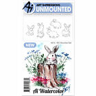 Art Impressions WC4874 Watercolor Cling Rubber Stamps 4X7 Bunnies