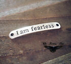 Quote Pendants Word Links Inspirational Charm Connectors I AM FEARLESS Silver
