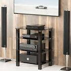 Black Media Tower Stand Audio Video Electronics Stereo Component Cabinet Shelves