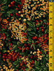 Natures Chorus cotton quilt fabric PB 1yd Foliage Red Berries on Black 71 R