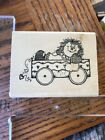 Hooks Lines  Inkers Wood Mount Rubber Stamp Raggedy Ann In Wagon