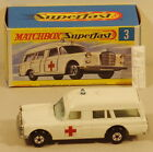 DTE LESNEY MATCHBOX TRANSITIONAL SUPERFAST 3 A MERCEDES AMBULANCE W STRETCHER