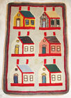 Antique Hand Made Hooked Rug 6 Multicolor Houses