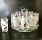 Libbey Silver Leaf Frosted Tumbler Glasses 8 + 1 Matching Shot Glass MCM 1950s