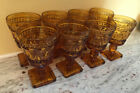 Set of 8 Indiana Glass Colony Park Lane Amber Wine Goblets Footed - Mid Century