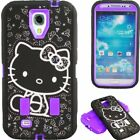 T Mobile Purple  Black Cute Hello Kitty Hybrid Case Cover For Samsung Galaxy S4