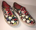 VANS  BLACK RED HELLO KITTY PRINT LO PRO CANVAS SNEAKERS WOMENS SIZE 8
