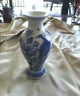 Antique  Chinese Vase with Bird Peacock Signed Blue White - R