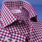 Blue  Pink Attractive Check Formal Business Dress Shirt Egyptian Cotton Fabric