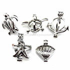 21683 5X lot Silver Beach Turtle Anchor Starfish Shell Pearl Cage Open Pendant