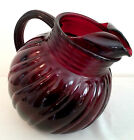 ROYAL RUBY TILTED PITCHER RED SWIRL Anchor Hocking 1940s Vintage Near Mint