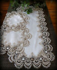 Table Runner Dresser Scarf Taupe Lace Antique White 36 PLUS 2 Round Doilies
