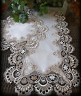 Table Runner Dresser Scarf Taupe Lace Antique White 30 PLUS 16 Round Doily