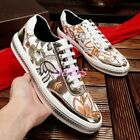 Mens Floral Embroidery Lace Up Genuine Lenther Fashion Sneakers Board Shoes Flat
