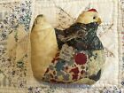 Primitive Handmade Hen Chicken Aged Grungy Old Quilt Sparkle Tag Live Simply