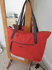 NEW COLE HAAN ORANGE TOTE BAG WITH BROWN LEATHER HANDLES