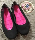 Crocs Womens Size 9 Stretch Your Sole Flats Black Canvas Slip On Pink Ballet