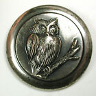 vintage Button Silver Plate on Copper Adorable Owl on a Branch 1