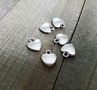 4 Heart Charms Antiqued Silver Pendants Love Puff Heart Stamping Blanks Finding