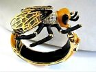 Huge Enamel Crystal Bumble Bee Bracelet Glass Wings True Statement Pc WOW Factor