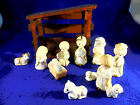 MUSICAL WOODEN STABLE AND 10 CHILDLIKE FIGURES NATIVITY KING IS 3 3 4 HIGH