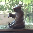 Antique Black Forest Hand Carved Bear Sculpture w Glass Eyes on Swivel Base