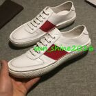Mens Low Top Genuine Leather Vintage Loafers Shoes Slip on stripe Sneakers Shoes