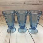 Anchor Hocking Light Blue Sundae Glasses Set of 3 Ice Cream Parfait Vintage