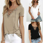Summer Lady V-Neck Lace Up T-Shirt Short Sleeve Loose Casual Solid Color Blouse