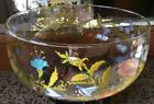 RARE Dorothy Thorpe Wildflowers Large Glass Serving Bowl Signed 9.5x4.5