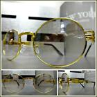 CLASSIC VINTAGE RETRO Style Clear Lens Eye Glasses Oval Gold Metal Fashion Frame