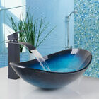 A Oval Tempered Glass Vessel Sink Faucet Bathroom Pop Up Drain Combo Tap Set