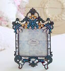 AQUA RHINESTONE PICTURE FRAME CRYSTAL GOLD JEWELS PHOTO SHABBY FLEAMARKET CHIC