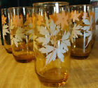 Libbey Drinking Glasses Compl. Set of 8 Tumblers Amber w/ Flowers/Leaves - 1970s
