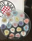 PEGGY KARR FUSED ART GLASS 11 ROUND CONVERSATIONAL HEARTS PLATTER SIGNED 2001