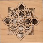 flower heart mosaic 1529M holly berry Wood Mounted Rubber Stamp 4 x 4