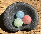 Genuine Sea Glass JQ Red Yellow  Blue Marbles with Black Bottle Bottom Nest