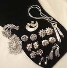 Vintage 10 Piece LOT All Signed CROWN TRIFARI Silver Tone Mixed Jewelry Earrings