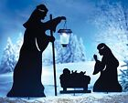 Outdoor Solar Christmas Decorations Nativity Shadow with LED Lighted Lantern G