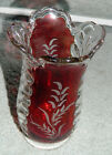 Vintage EAPG Ruby Red Stained Glass PLUME Celery Vase