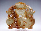 Nephrite Jade Carved LARGE Pendant Sculpture Double Curly Dragons #06131810